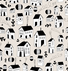 Seamless pattern with graphic houses vector