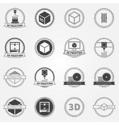 Set of 3d printing emblems or logos vector