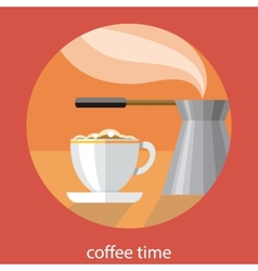 Vintage card of coffe time vector