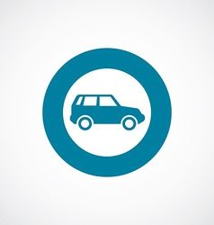 Car icon bold blue circle border vector