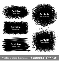 Set of hand drawn scribble shapes design elements vector