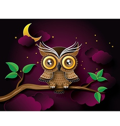 Owl with moon vector