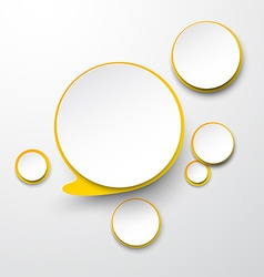 Paper white-yellow round speech bubbles vector