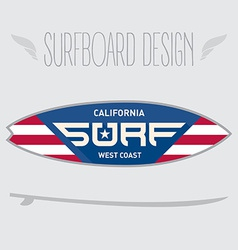 For surf board design california west coast vector