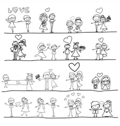 Cartoon hand-drawn love vector