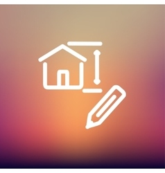 House sketch and pencil thin line icon vector