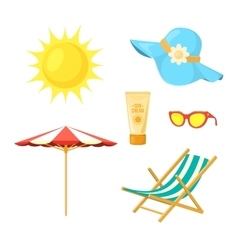 Sun deck chair sun protective accessories vector