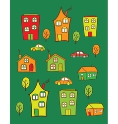 Colored houses vector