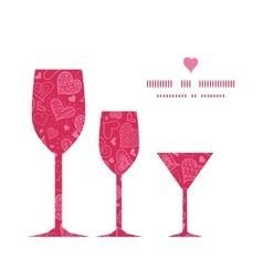 Doodle hearts three wine glasses silhouettes vector