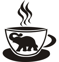 Tea cup with elephant vector