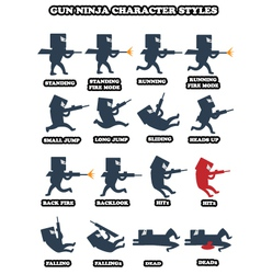 Ninja game sprite pack vector