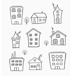 Sketches of houses vector