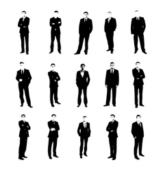 Set men silhouettes vector