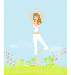 Woman in a traditional yoga pose vector