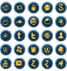 Bottle cap social media icons set 6 vector