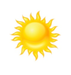 Hot yellow sun icon isolated vector