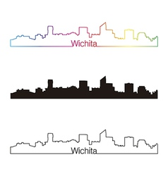 Wichita skyline linear style with rainbow vector