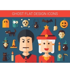 Set of flat design ghost icons vector