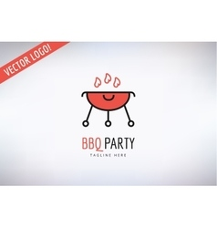 Bbq and food logo outdoor kitchen or meat vector