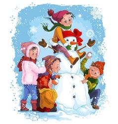 Winter games children and snowman vector