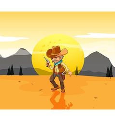 A desert with an armed cowboy vector