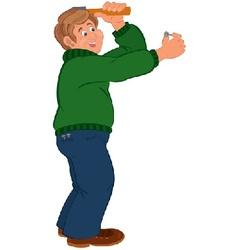 Happy cartoon man hitting nail with hummer vector