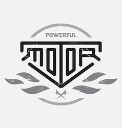 Automotive motorcycle badge with fire and bolts vector