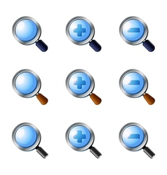 Realistic zoom icons set vector