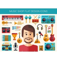Set of modern flat design musical instruments and vector