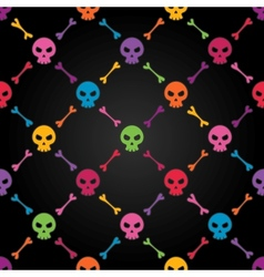 Multicolor seamless pattern with skulls vector