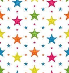 Colorful starfishes summer seamless background vector