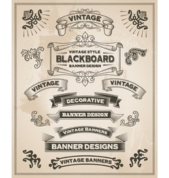 Vintage banner and ribbon set vector