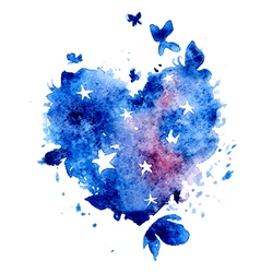 Watercolor hand drawn star butterflies vector