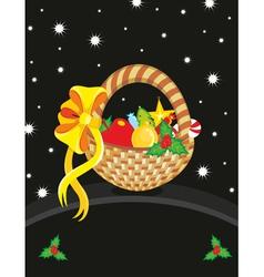 Basket christmas toy card vector