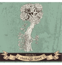 Magic grunge forest hand drawn by a vintage font - vector
