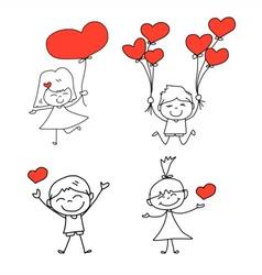 Cartoon hand-drawn set of happy kid and love vector