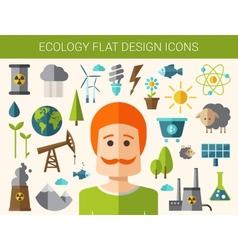Modern flat design conceptual ecological icons vector