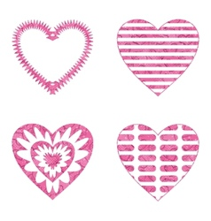 Valentine heart with patterns set vector