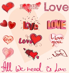 Different hearts and hand writing of love elements vector