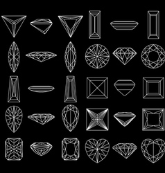 Diamond gemstone wire frames vector