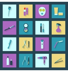 Beauty salon flat icons set vector
