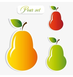 Pear stickers set vector