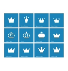 Crown icons on blue background vector