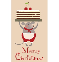 Christmas mouse with cake vector