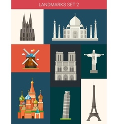 Set of flat design famous world landmarks icons vector