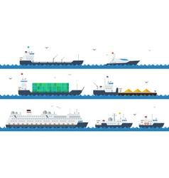 Motor and cargo ships vector