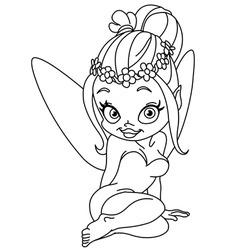Outlined flower fairy vector