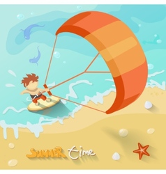 Summer time poster with sea sun ocean fichcrab and vector