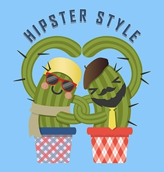Loving couple of hipster cactus arm in arm vector