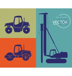 Silhouettes of construction equipment set vector